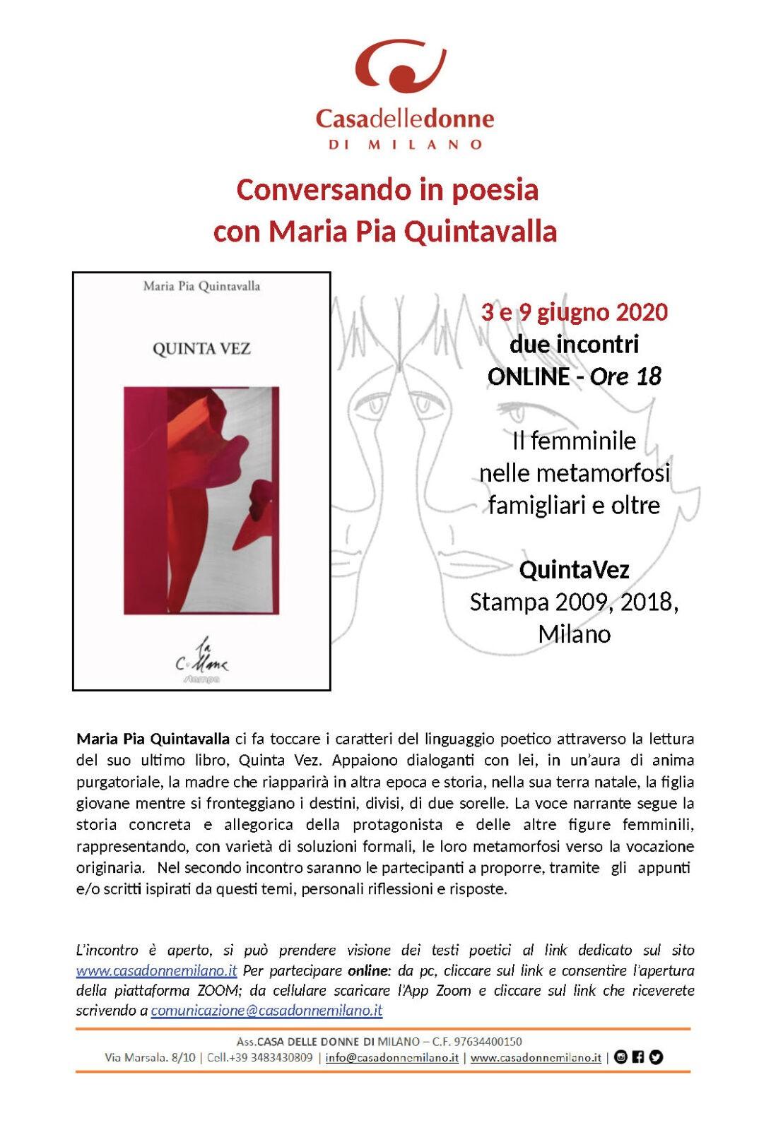 Casa delle Donne di Milano – Conversando in poesia con Maria Pia Quintavalla